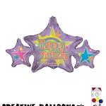 17838-14 Happy Birthday Star Shaped Foil Balloons - Creative Balloons Mfg. Inc